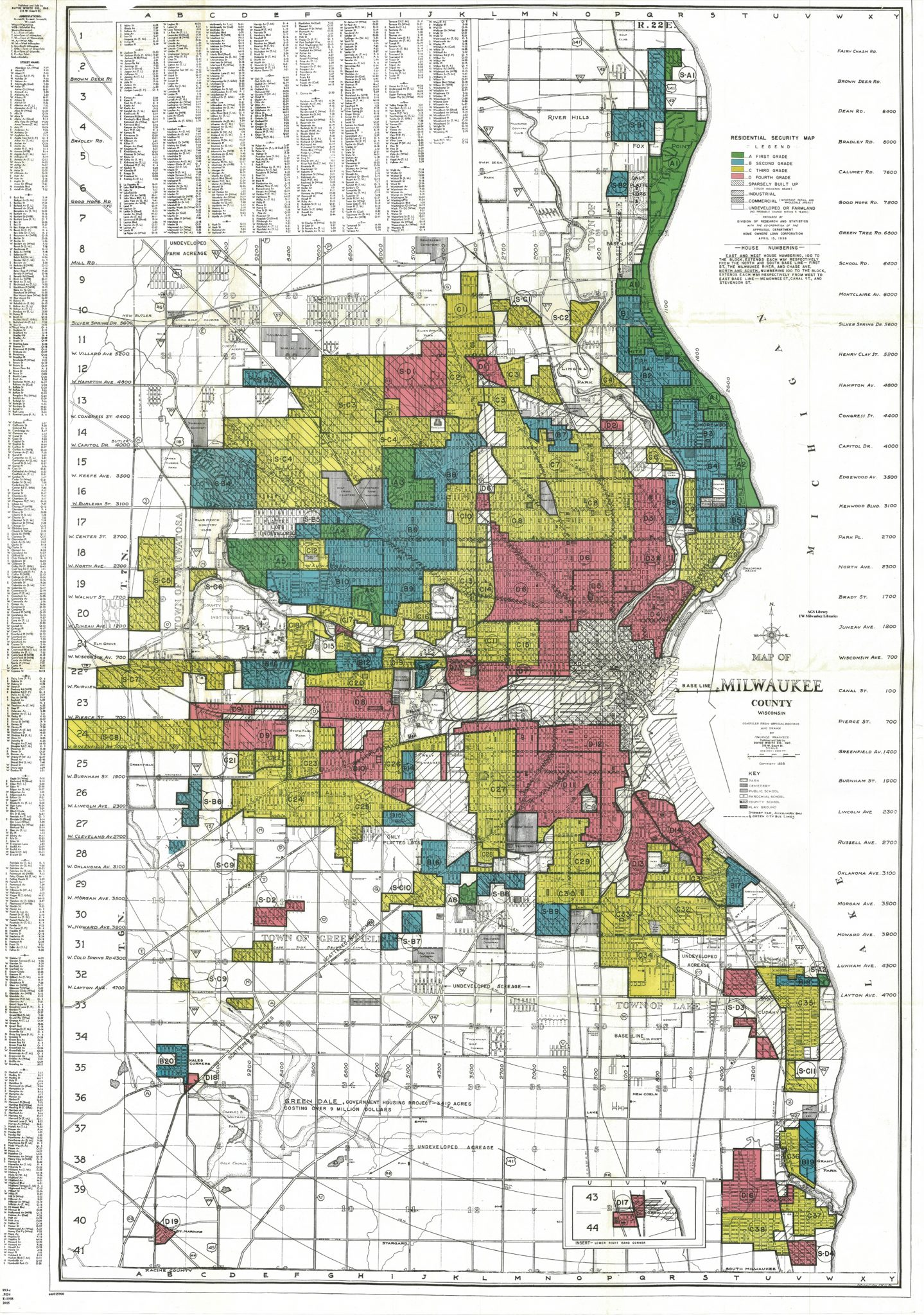 1938 Residential Security Map of Milwaukee