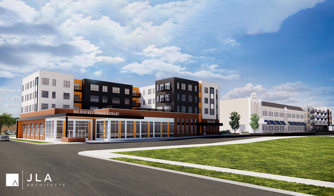 King Library and affordable housing development | Milwaukee | architecture by JLA Architects | A project by: EMEM Group & General Capital