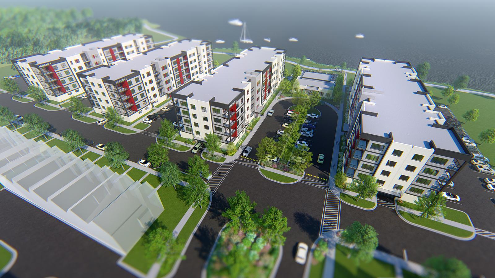 Aerial View | Morgan District | Oshkosh, Wis. | Main Intersection | JLA Architects