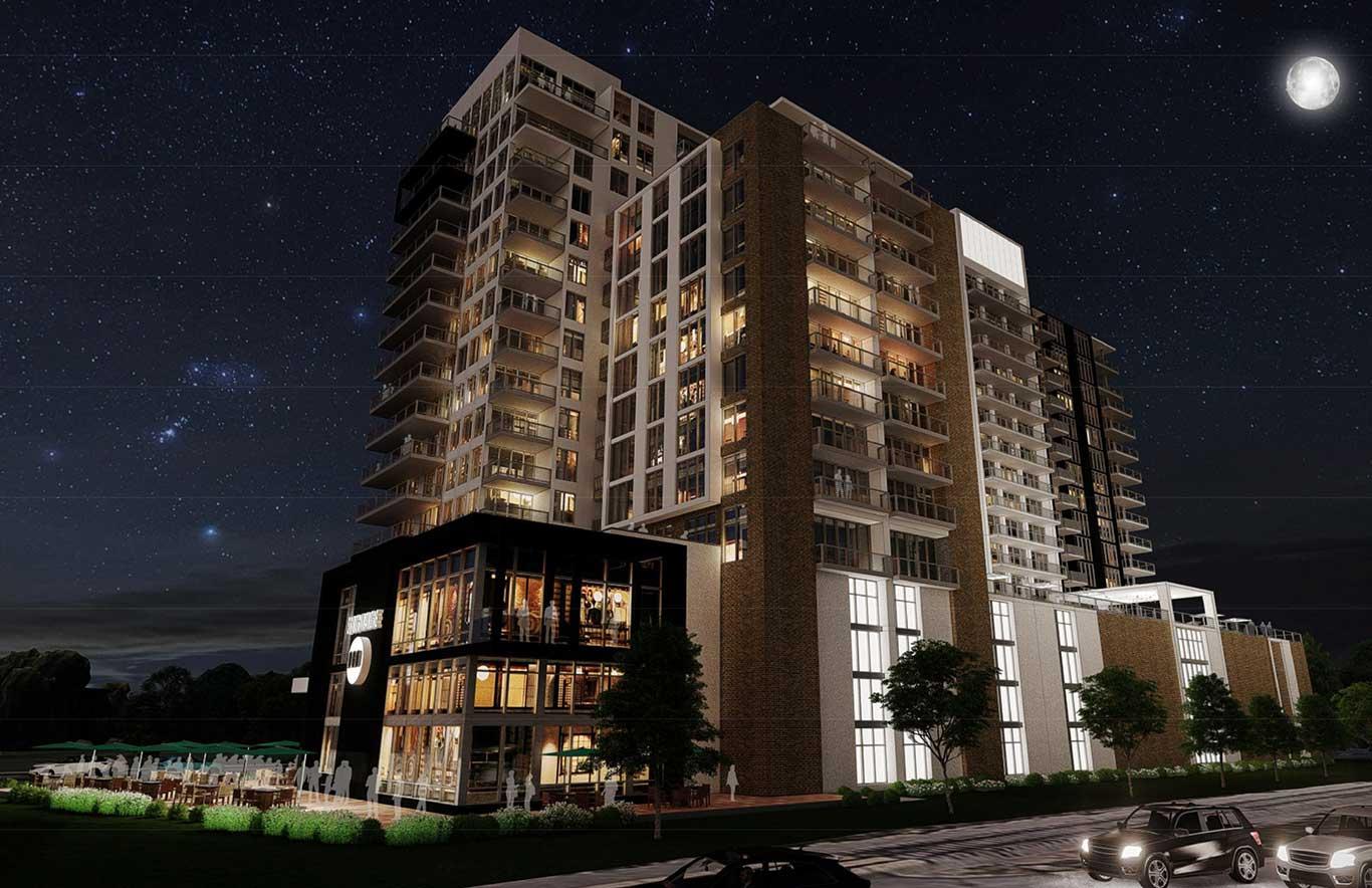 Aerial Night Exterior | Olin Avenue | Madison, Wis | JLA Architects