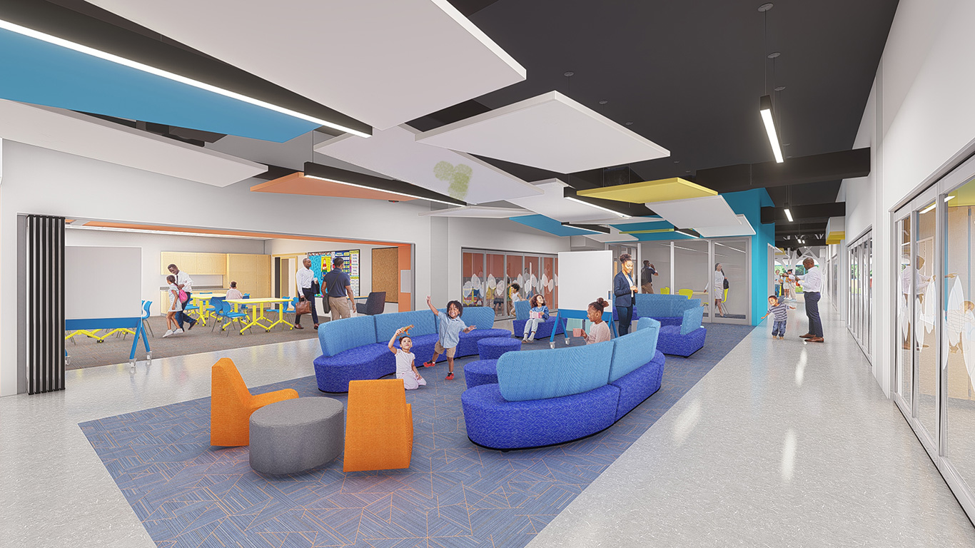Collaboration spaces at One City Schools in Madison, Wis. | JLA Architects with LHB